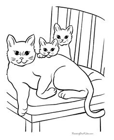 cat color pages printable free cat page to print and color - Coloring Pages For Kids Free