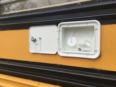 Installed RV water inlet - tiny house school bus conversion, Tristan Beache
