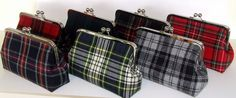 Wool Clutch Brodie Tartan Red and Black Plaid Clutch by FABbyCAB