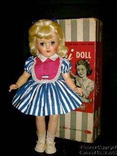 A Toni doll, a popular doll from the 1950s that came with a Toni permanent.  I have a well loved doll from my childhood and a more like new doll that I purchased at a doll show about 15 years ago.