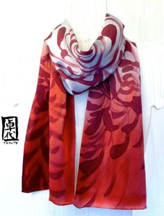 Hand Painted Silk Scarf Red Silk Scarf Red by SilkScarvesTakuyo, $52.00