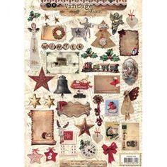 Декупажна хартия А4 / 170 гр. - Vintage Christmas 1256