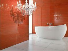 sublime orange dans une salle de bain minimaliste