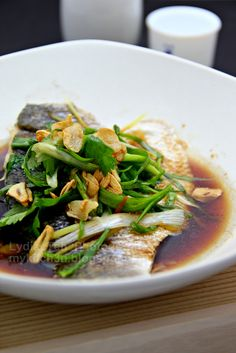 Cantonese Style Steamed Barramundi. To see more healthy and sustainable recipes using Australis Barramundi, check out our website here: www.thebetterfish.com