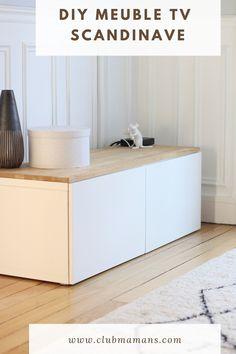 Je vous montre comment réaliser un meuble tv scandinave avec une planche en bois par dessus à moindre coût à partir d'un meuble IKEA Ikea Cabinets, Ikea Hack, My Dream Home, Living Room, Storage, House, Club, Inspiration, Furniture