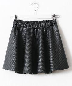 Black Plaid PU Leather Pleated Dress US$17.60