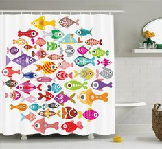 Harriet Bee Wyman Rounded Different Fish Decor Single Shower Curtain Size: H x Fish Bathroom, Bathroom Kids, Bathrooms, Shower Curtain Sizes, Shower Curtains, Different Fish, Shower Liner, Fish Print, Animal Decor