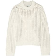 3.1 Phillip Lim Open-knit sweater ($198) ❤ liked on Polyvore featuring tops, sweaters, ivory, winter white sweater, loose fitting tops, knit tops, white knit top and open stitch sweater