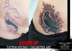 Black & Grey / Cover Up Tattoo Crow (Krähe)