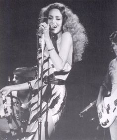 "Jerry Hall with Bryan Ferry's band in 1977, doing her part for the song ""Let's Stick Together""."