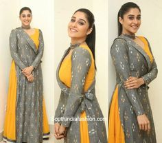 At the audio launch of Banthi Poola Janaki, actress Regina Cassandra looked gorgeous in a mustard and grey anarkali. Long Dress Design, Dress Neck Designs, Stylish Dress Designs, Designs For Dresses, Stylish Dresses, Indian Gowns Dresses, Indian Fashion Dresses, Indian Designer Outfits, India Fashion