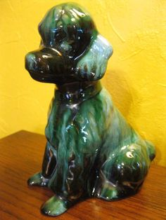 Poodle Dog Blue Mountain Pottery Green Black Drip Glaze Vintage BMP Canadian Mountain Art, Blue Mountain, Pottery Art, Poodle, Glaze, Lion Sculpture, Canada, Statue, Green