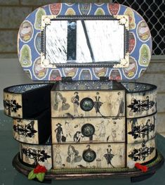 Look at this wonderful Fashionista altered jewelry box by @Ieonie Vellender! Such a beautiful piece! #graphic45 #DIY