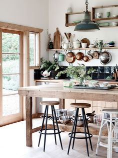 Natural Rustic Wood and White Kitchen with Green and Copper - Eve Wilson Interiors