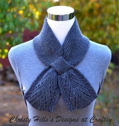 Free knitting pattern for Everest Scarf - Just one skein makes this beautiful lace keyhole scarf by Christy Hills