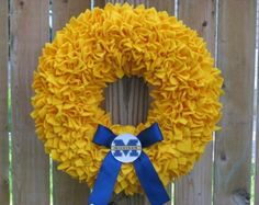 "15"" Handmade Fleece Rag Wreath --- I am only pinning this because I am making one for my mom...... don't worry I will gag the whole time!  ;)"