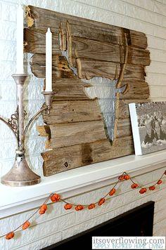 Rustic hunter mantel decor  #mantel #fall #design #homedecor #color #fireplace #hunting #male