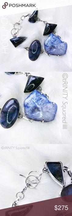 "NEW•GÉO S L I C E AGATE+SILVER[8.5""]Bracelet• BOUTIQUE • \\tRINITY Squared•// Genuine Géo Slice large blue agate + black Quartz + •925 Sterling silver [8.5""] ::: Brand new :::: Hand sourced + Handmade ::: NWT• tRINITY Sqaured• Jewelry Bracelets"