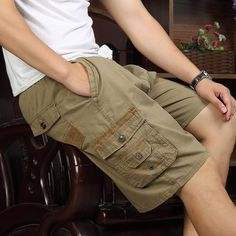264e6929285 Summer big middle-aged men s casual pants dad loaded cotton beach pants  loose middle-aged men s five
