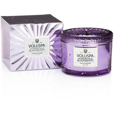 Voluspa Vermeil Boxed Maison Candle - Aurantia & Blackberry ($49) ❤ liked on Polyvore featuring home, home decor, candles & candleholders, purple, fragrance candles, scented candles, purple home accessories, voluspa candles and star candles