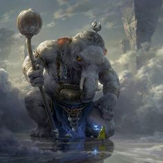 White Elephant by Tianhua Xu Tags: Fantasy, World, Mythical Fantasy Artwork, Digital Art Illustration, Digital Painter, Fantasy Kunst, Art Graphique, Fantasy Inspiration, Creature Design, Mythical Creatures, Fantasy Characters