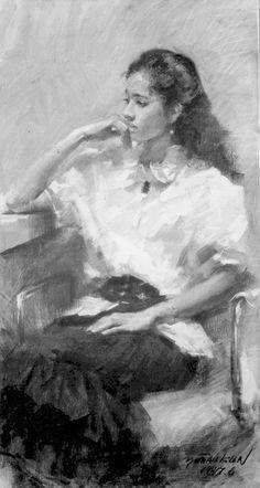 Yim Mau-Kun. Lady in White Charcoal on Canvas