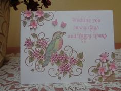 """Beautiful bird and hand stamped and shaped flowers """"birthday"""" card by LuvinItCREATIONS on Etsy"""