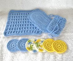 Crochet Spa Set with Blue Yellow Green Spa Gift Set by GreenHome22