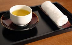 Set of Four Japanese Wood and Lacquer Oshibori Moist Hand Towel ...