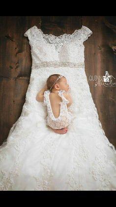 Newborn photo with mom's wedding gown Baby Girl Wedding Dress, Baby Wedding, Wedding Dresses For Girls, Dream Wedding, Dress Girl, Wedding Dress Pictures, Newborn Pictures, Baby Pictures, Baby Girl Newborn