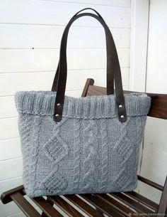 Купить Вязаная сумка /серый меланж в интернет магазине на Ярмарке Мастеров