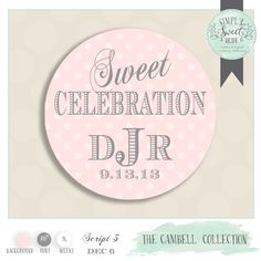 """custom wedding favor sticker. Color of Choice Size 2"""" Round. Cambell collection SWEET CELEBRATION personalized sticker design. Pink & Silver by SimplySweetBride on Etsy"""