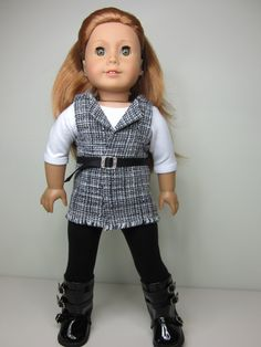American Girl doll clothes 3 pcTweed like vest by JazzyDollDuds, $26.00