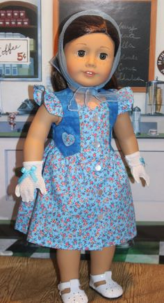 Summer Dress, Nylon Scarf and Gloves for 18 inch Dolls, fits American Girl, Maryellen Dress and Others