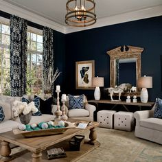 Navy Living Room-Parade of Homes 2012 - transitional - living room - other metro - LGB Interiors Furniture layout Navy Blue Living Room, Living Room Redo, Formal Living Rooms, Home Living Room, Living Room Designs, Navy Blue Rooms, Navy Blue Decor, Design Salon, Transitional Living Rooms