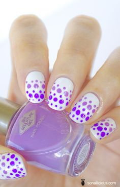 Purple dotted nails