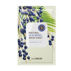 The Saem Natural Acai Berry Mask Sheet Rice Mask, Acai Berry, Dull Skin, Face Hair, Key Ingredient, Radiant Skin, Beauty Essentials, Soap Making, Bath And Body Works