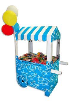 El carrito de las chuches para cumpleaños de niños Carritos de cartón para chuches... ¡Una nota original para tus fiestas infantiles!