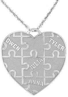 So unique! A puzzle design heart pendant personalized with the names of loved ones! #family #love #customizeit