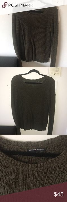 Olive green brandy Melville sweater NWOT Never worn it's been sitting in my closet . It's labeled one size, but fits nice on a medium Brandy Melville Sweaters