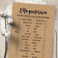 Bridal Shower game in Spanish, Would She Rather - Ella Preferiria, printable games, juegos para despedida de soltera Inexpensive Bridal Shower Gifts, Bridal Shower Gifts For Bride, Disney Bridal Showers, Bridal Shower Rustic, Bridal Shower Favors, Bridal Shower Decorations, Bride Gifts, Bridal Shower Invitations, Invites
