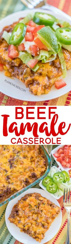 Beef Tamale Casserole - sweet cornbread crust topped with seasoned beef, enchilada sauce and cheese. A real crowd pleaser! Everyone always cleans their plate!! Such an easy Mexican casserole recipe!!! Jiffy Mix, eggs, milk, creamed corn, hamburger meat, t