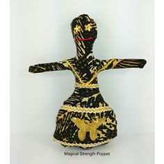 Handmade Voodoo Doll with spiritual intentions for Healing - Promotes Good Heal, Success, Reduces Stress. She is a mixed media piece of fiber art with special healing flower blend and measures x