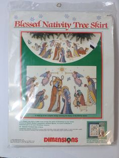 VTG Dimensions Blessed Nativity Cross Stitch Christmas Tree Skirt Kit NEW 8379 #Dimensions #ChristmasTreeSkirt