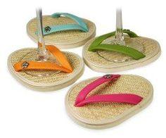 Flip flop wine glass coasters!