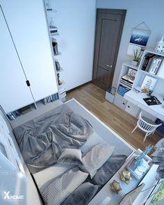 ꜰᴏʟʟᴏᴡ · 赤 · ᴛᴇᴀʀʏʟɪʟʏ für die Gestaltung kleiner Räume Tiny Bedroom Design, Home Room Design, Small Room Design, Room Ideas Bedroom, Small Room Bedroom, Bedroom Decor, Home Office Layouts, Office Ideas, Small Apartment Bedrooms