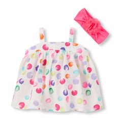 Newborn Baby Sleeveless Paint Dot Print Sunsuit And 3D Flower Headwrap Set - White - The Children's Place
