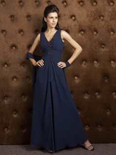 A-line Halter  Beading  Sleeveless Floor-length Chiffon Dark Navy Mother of the groom Dresses