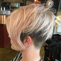 20 Bold and Daring Takes on the Shaved Pixie Cut Long Blonde Pixie With Undercut Blonde Pixie, Undercut Hairstyles, Pixie Hairstyles, Baddie Hairstyles, Simple Hairstyles, Shaved Hairstyles, School Hairstyles, Pixie Haircuts, Formal Hairstyles