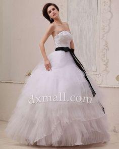 A-line Wedding Dresses Strapless Sweep/Brush Train Organza Satin Ivory 010010100535